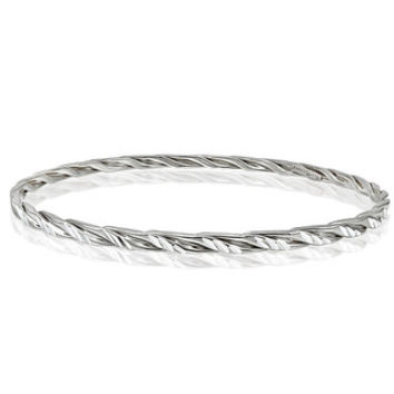 Mondevio High Polished Diamond-cut 3mm Bangle - Free Shipping On Orders Over $45 - Overstock.com - 18309285 - Mobile