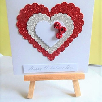 Valentines day card, valentines card, love card, card for boyfriend, card for girlfriend, Valentines day, quilled card, handmade card
