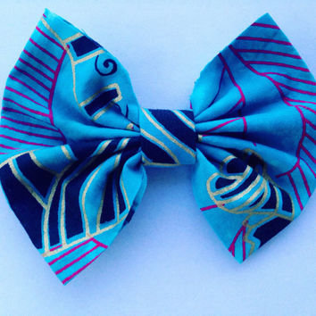 African Print Hair Bow-Heritage Print Hair Bow-Ethnic Hair Bow-Hair Clip-Hair Barrette-Blue Hair Bow