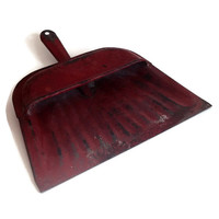Vintage Dust Pan, Red Metal, Shabby Chic, Chippy, Vintage Kitchen, Vintage Housewares, Farmhouse