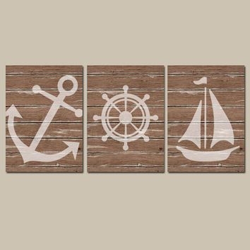 Nautical Wall Art CANVAS or Prints Distressed Wood Effect Background Boy Nursery Bathroom Decor Brown Ocean Anchor Boat Wheel Set of 3