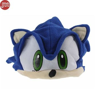 OHMETOY Sonic The Hedgehog Fleece Plush Hat Cosplay Costumes Blue Cap Brinquedos for Adult Teenager Anime Birthday Gift In Stock
