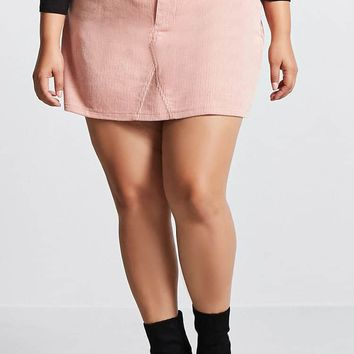 Plus Size Corduroy Mini Skirt