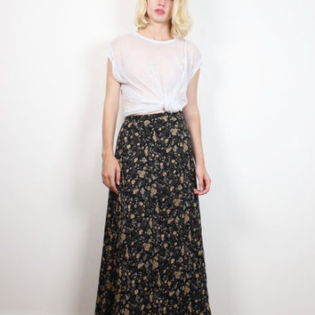 Vintage 1990s Skirt Black Tan Liberty Floral Print Midi Skirt 90s Skirt Sheer Boho Soft Grunge Skirt Fitted Waist Ditsy Floral S Small Skirt
