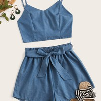 Shirred Cami Top With Belted Paperbag Shorts