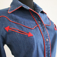 Vintage 80s denim western wear style dress red piping pearl snap shirt dress