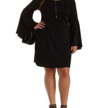 Plus Size Black Extreme Bell Sleeve Dress by Charlotte Russe
