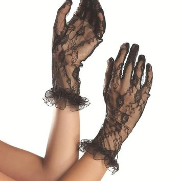 Bewicked  White Mid Arm Length Lace Gloves BW3003W