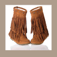 Mid Calf Moccasin Tassel Fringe Style Mountain Boot - Camel/Tan