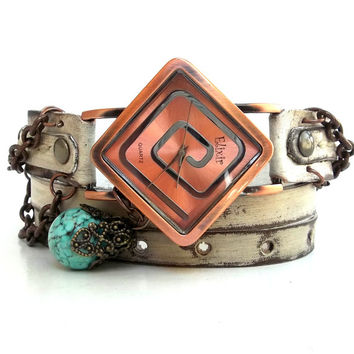 Rusty Looking Wrap Watch, Womens leather watch, Bracelet Watch, Wrist Watch, Vintage style Watch with Chain and Turquoise bead