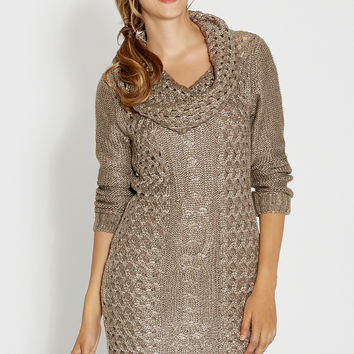 cable knit sweater dress with cowl neck in taupe
