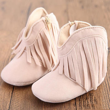 Autumn Winter Baby Boy Girl Ankle Boots 2016 New Fahsion Tassel Non-slip Shoes For 0-18 Months Kids Soft Sole Casual Warm Shoes