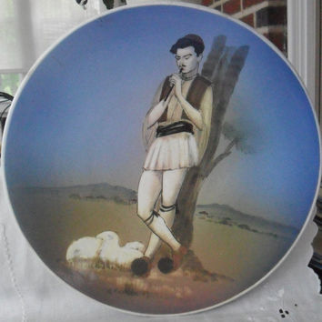 Vintage Greek Hand Painted Decorative Plate Shepherd Rustic Unusual Beautiful Plate