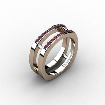 Mens Modern 14K Rose Gold Bordo Ruby Cluster Wedding Ring G10042-14KRGBR