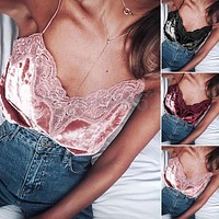 Fashion Womens V-neck Vest Sleeveless Lace Velvet Shirt Blouse Casual Tank Tops