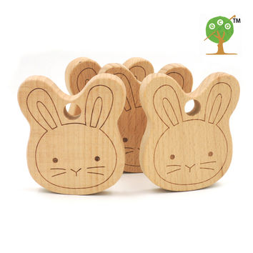 20pcs x 70mm DIY unfinished bunny ear carving wooden beech teether rattle 2.75 inch DIY fitting Handcrafted baby gift EA56-1