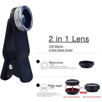 Universal 2in1 Clip 0.65X Wide Angle & 10X Macro Lens Mobile Phone Lens For iPhone 6 4 5 Samsung S4 S5 All Phones Camera Lens