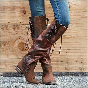 Leather Lace Up Low Heel Knee High Boots