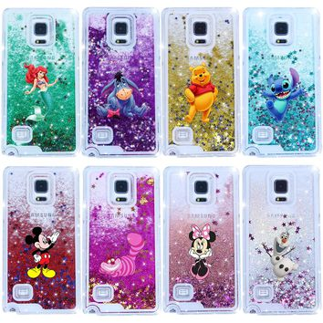 Hot Sales Alice in Wonderland Sparkling Liquid Quicksand  Case Cover For Samsung Galaxy Note 4