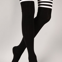 Parallel Division Thigh High Socks