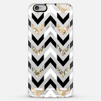 Black, White & Gold Glitter Herringbone Chevron on Crystal Clear iPhone 6 case by Tangerine- Tane | Casetify