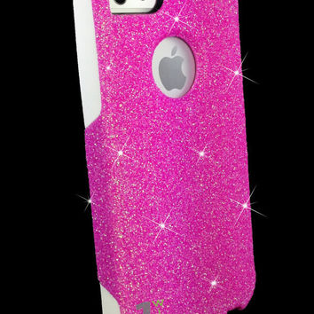 Custom Glitter Case Otterbox for iPhone 5 Bubblegum Pink/White