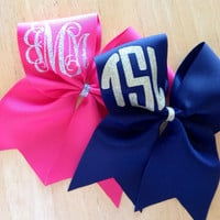 Glitter monogram cheer bow
