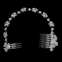 Women Silver Color Hair Accessories Headdress Crystal Hair Vine Butterfly Hair Comb Hairpin Bridal Wedding Head Pieces For Bride