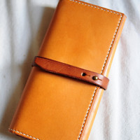 Hand Stitched Light Brown Leather Long Wallet