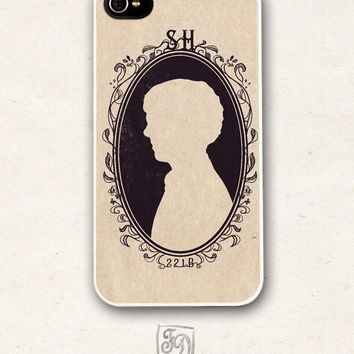 Iphone 4 / 4s hard or rubber case SHERLOCK HOLMES cameo , 221B