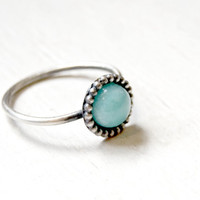 Handmade Amazonite ring, sterling silver, stacking ring