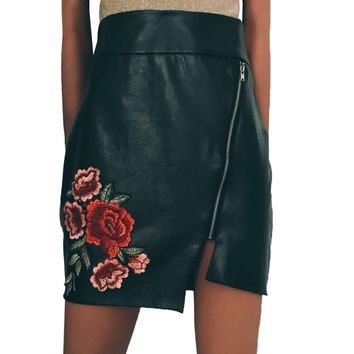 Europe Sexy Women Vintage Black Floral Embroidery Skirt Mini PU Faux Leather Skirt Solid Irregular Bodycon Casual Pencil Skirts