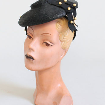 Vintage 1940s Black Straw Tilt Hat with Pearls