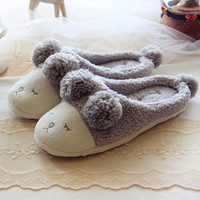 Deep Grey Cartoon Pattern Slippers