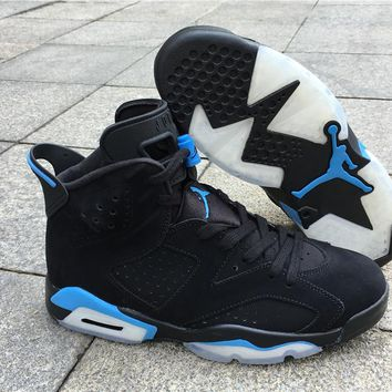 Air Jordan Retro 6 University Blue Men Basketball Shoes UNC Black University Blue 384664-006 VI 6S Alternate Sports Trainers Sneakers With Box