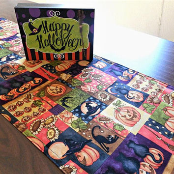Halloween Table Runner Thanksgiving Pumpkins Sunflowers Black Cats Bats Cornucopia Reversible Orange Black Yellow Buffet Halloween Decor