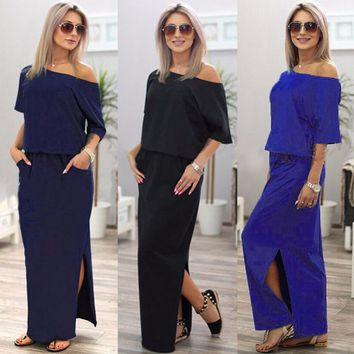 Maxi Dress Women Summer Off Shoulder Strapless Tunic Casual Loose Long Dresses Lady Sexy Side Split Party Dress LDW720