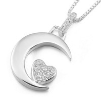"Women's ""I LOVE U"" 925 Sterling Silver Pendant Necklace CZ Silver Moon Heart Love Elegant -with 18 inch Sterling Silver Chain: J ..."