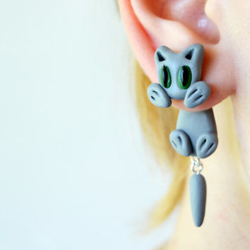 grey cat clinging earrings,front back fake gauge,double sided stud,ear jacket,cuff,unique crawler,two part animal dangling,polymer clay post