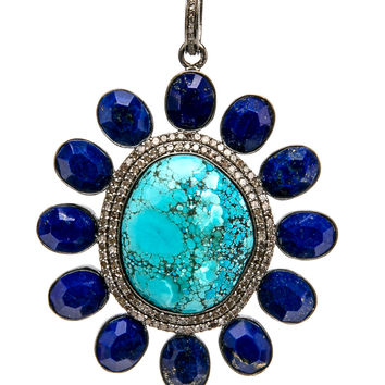 Turquoise with Lapis Pendant