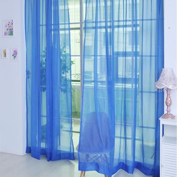 Pure Color Tulle Door Window Curtain Drape