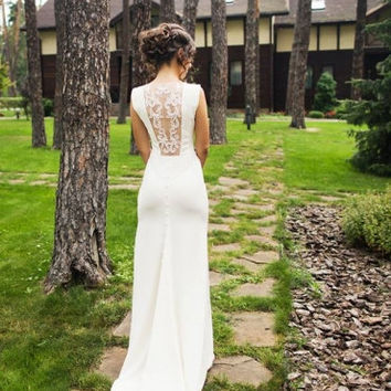Long Wedding Dress, Ivory Wedding Gown With Open Back, Crepe and Tulle Dress with Handmade Embellishments, Wedding Dress with Train L12