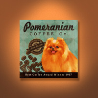 Pomeranian Coffee Co. - 12X12 Modern Vintage Giclee Print - Mixed Media - LHA-295-37