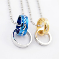 Fashion 18k gold plated 316L stainless steel lovers rhinestone circle rings couple pendant necklace jewelry SP0292