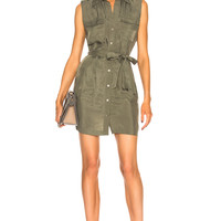 L'AGENCE Evelyn Military Dress in Beetle | FWRD
