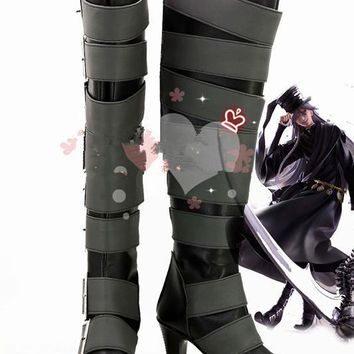 Anime Black Butler Kuroshitsuji Undertaker Cosplay Boots Shoes For Christmas Halloween