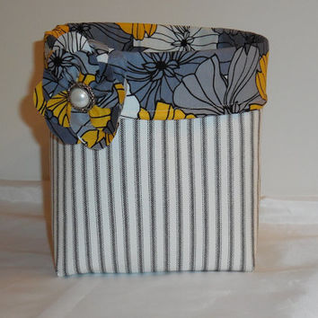 Large Ticking Fabric Basket With Black, Gray and Yellow Liner and Detachable Matching Pin