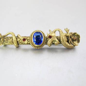 Art Nouveau Dragon Brooch. Antique Coiled Snake Dragon Griffin Sapphire Blue Glass Pin Brooch. Riker Bros. Style.