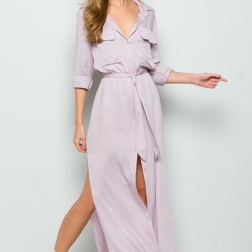 Lavender Duster Style Maxi Dress