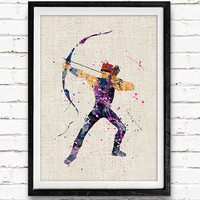 Hawkeye Watercolor Art Poster Print, Marvel Superhero, Avengers, Wall Art, Home Decor, Boy's Gift, Not Framed, Buy 2 Get 1 Free!
